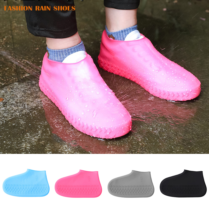 Reusable Waterproof Rainproof Shoes Covers Silicone Washable Wear- Durable Resistant Shoes Covers Rain Boots For Adult Kids
