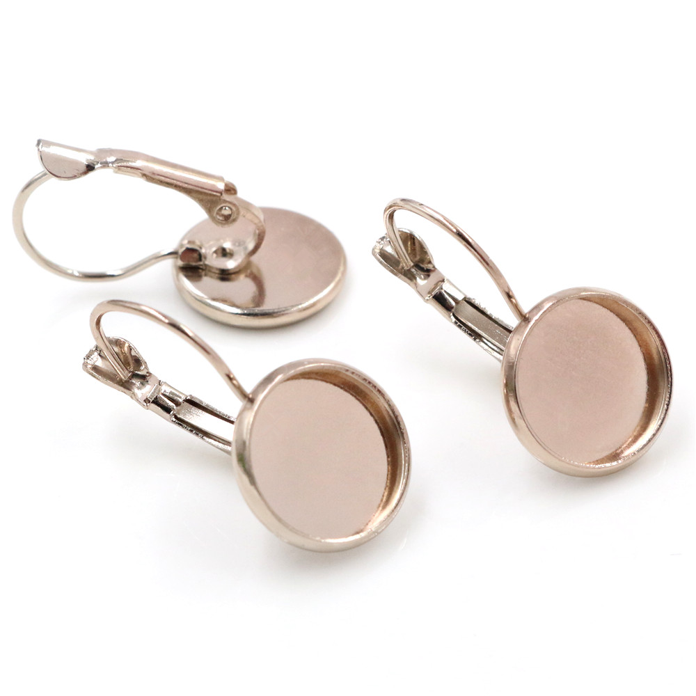 12mm 10pcs High Quality Light Coffee Plated French Lever Back Earrings Blank/Base,Fit 12mm Glass Cabochons,Buttons-O4-22