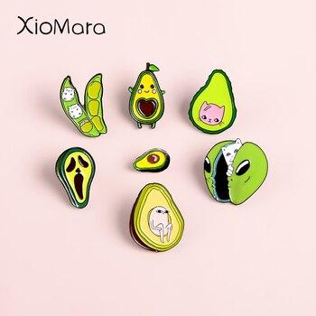 Эмалированные булавки зеленого цвета авокадо коллекции Meme Ketnipz значок кота Ежика на заказ ювелирные броши отворот булавка для женщин и мужчин