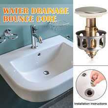 2 in 1 Brass Wash Basin Bounce Drain Filter, Built-in Anti-Clogging Strainer, Bathroom Sink Drain Plug with Basket