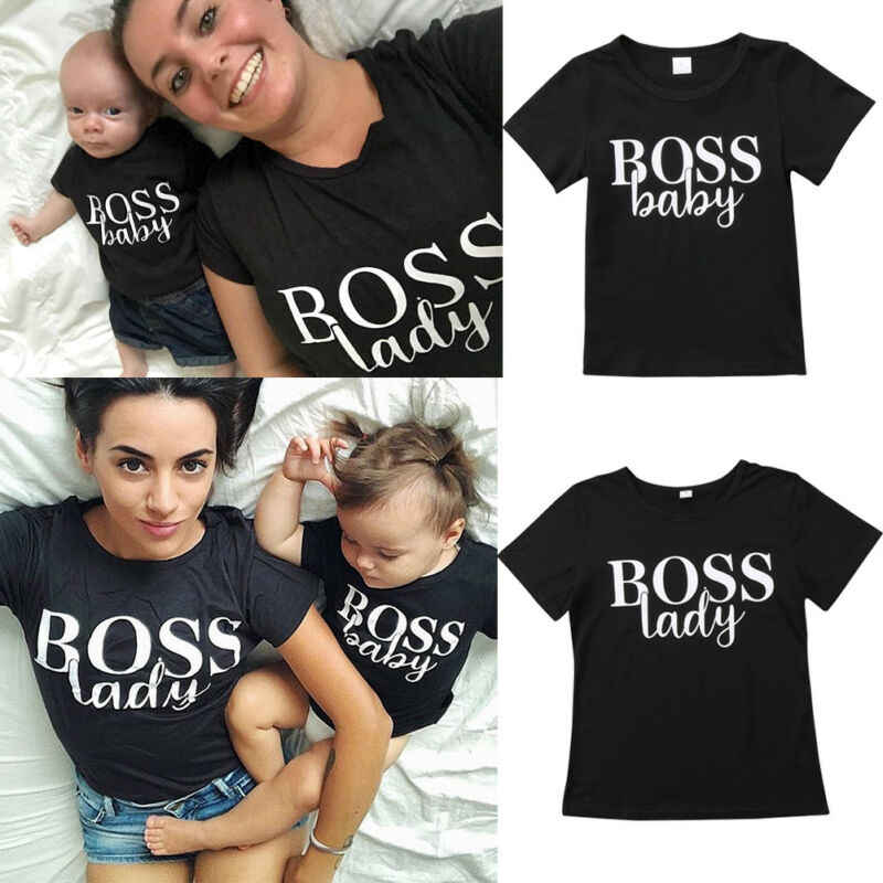 Goocheer Casual Mother Child Family Matching T Shirts Women Kids Girl Boy Mom Clothes Tee Tops Family Matching Outfits