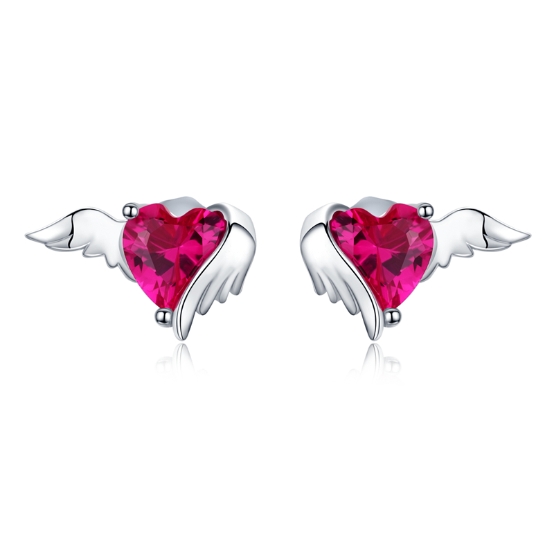 VOROCO S925 Sterling Silver Heart To Heart Golden Earrings Fit Women/'s Jewelry