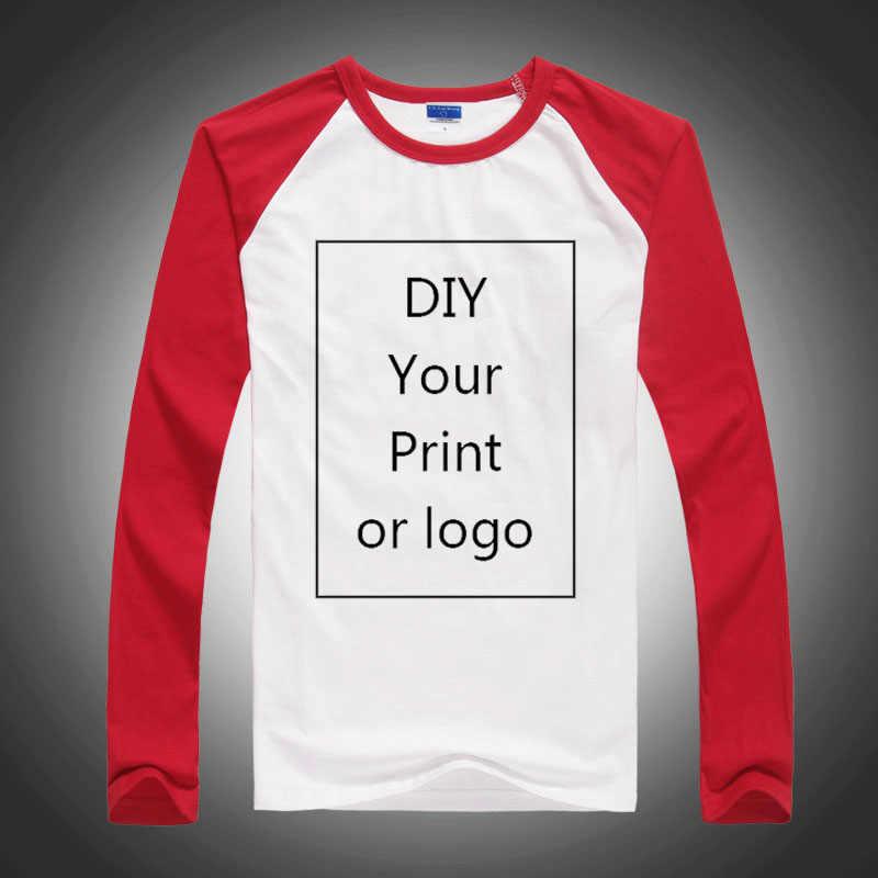 Футболки с длинным рукавом реглан, Мужская/Женская/детская футболка на заказ, рубашки с собственным дизайном и принтом логотипа, повседневная осенняя одежда для родителей и детей