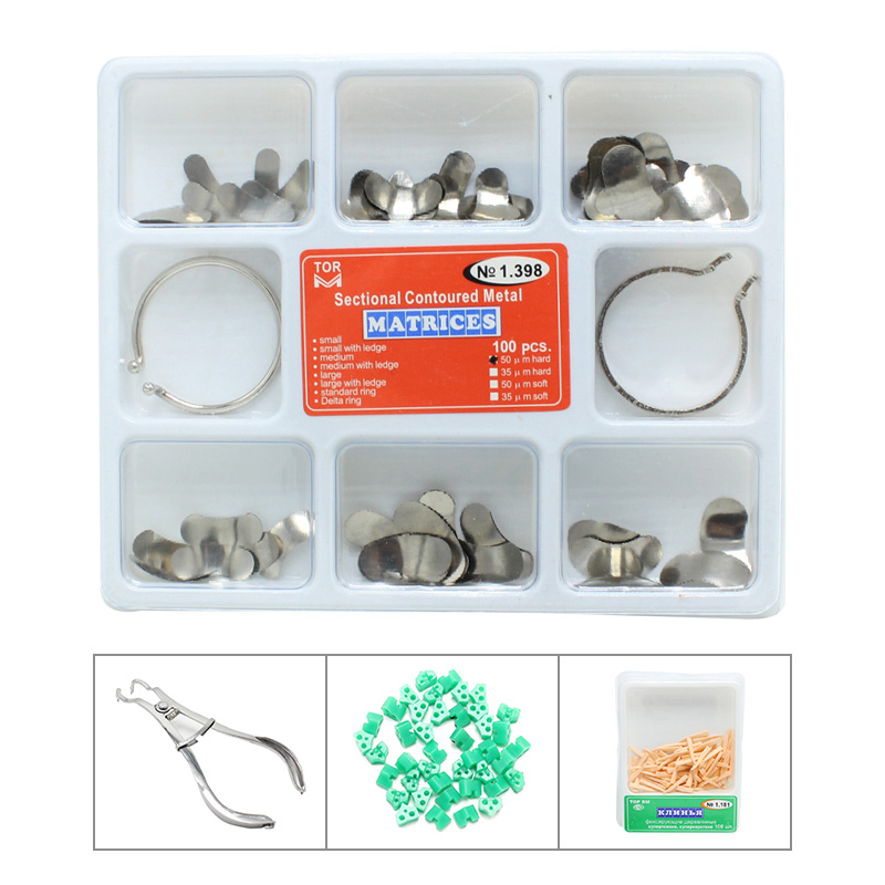 100Pcs Full Kit Dental Matrix Sectional Contoured Metal Matrices No.1.398 + 2 Rings Teeth Whitening Dentist Tools Lab Instrument