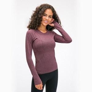 Image 5 - Nepoagym oceano mulher yoga sem costura superior super macio manga longa camisa elástico workout topos esportes wear para mulher ginásio