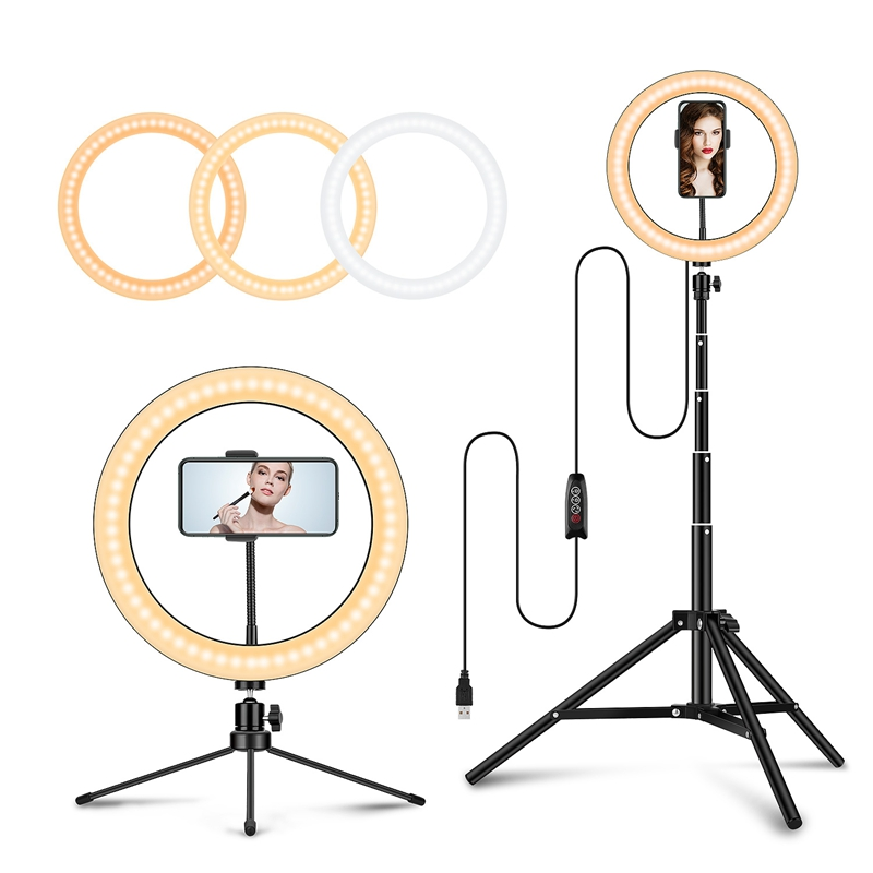 26cm/10inch Camera Studio Ring Light Video LED Beauty Ring Light Photography Dimmable Ring Lamp+Tripod For Portrait,Makeup,Video image