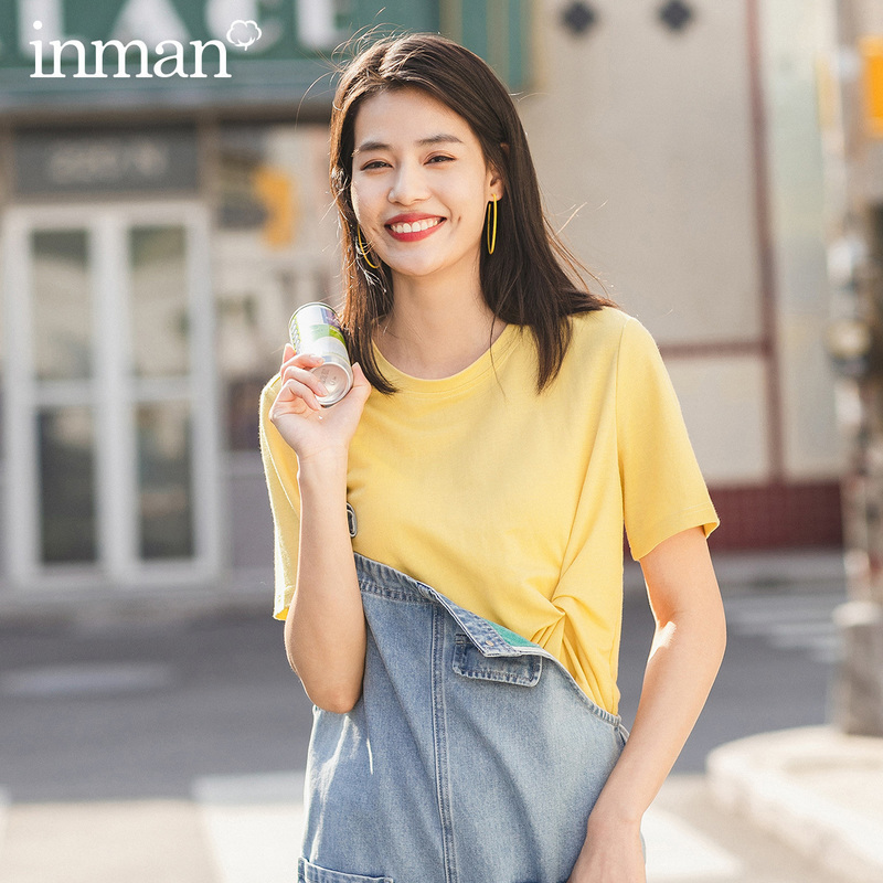 INMAN 2020 Summer New Arriavl Round Collar Fashion Personality Pure Color Leisure Short Sleeve