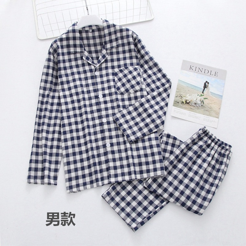 Plus Size Women Pajama Set Plaid Long Sleeve Sleepwear Autumn Winter Pijama Women Japanese Style Couple Pyjama Femme Cotton