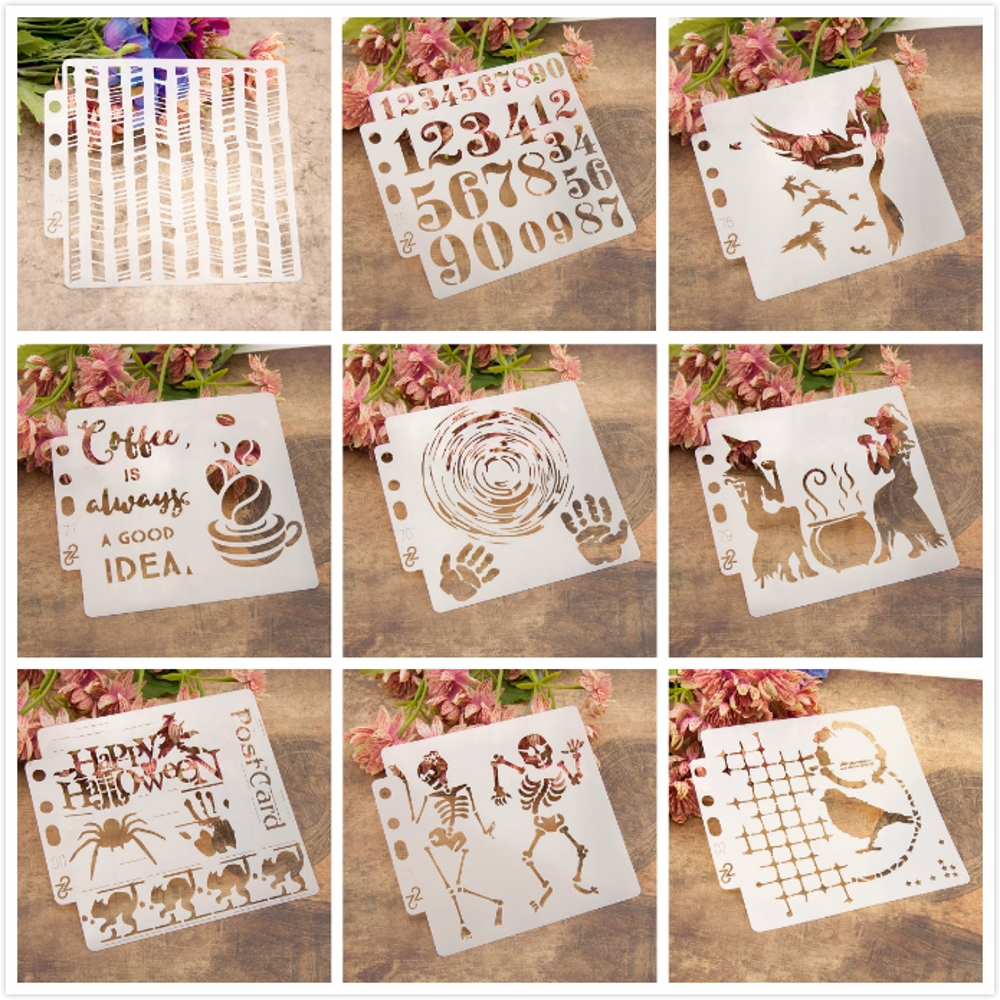 9Pcs/Set 14*13cm Skeleton Number Coffee Witch DIY Layering Stencils Painting Scrapbook Coloring Embossing Decorative Template