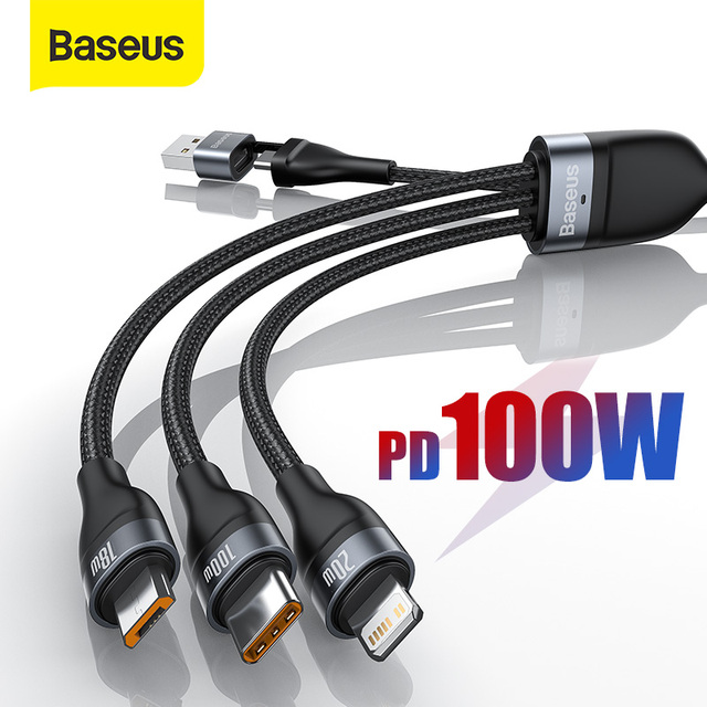 Baseus 3 in 1 USB Type C Cable Fast Charge Cable for iPhone 11 XR 8 Charger Cable 5A 4 in 1 Micro  for Xiaomi Redmi Note 9 1