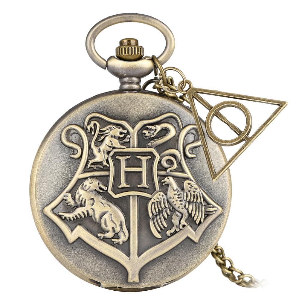 Retro Bronze Gryffindor/Hufflepuff/Ravenclaw/ Hogwarts School H Quartz Pocket Watch Necklace Pendant Chain With Gifts Accessory