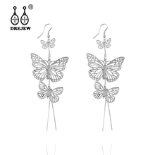 DREJEW Gold Silver Butterfly Crystal Statement Earrings  2019 925 Alloy Drop for Women Wedding Fashion Jewelry HE5831