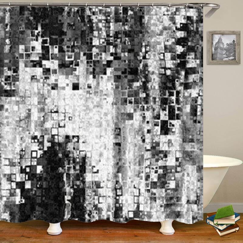 Bohemian Style Abstract Art Waterproof Fabric Bathroom Shower Curtain 12 Hooks