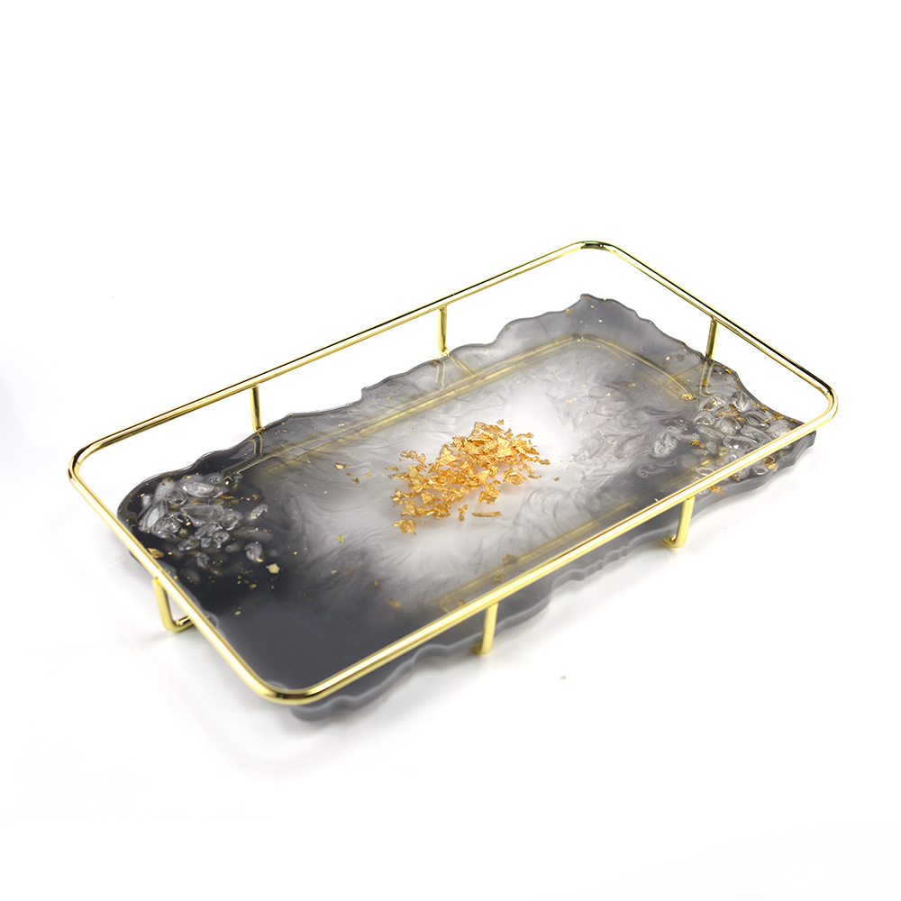 Tray Plate Base Home Decoration Jewelry Tools Golden Plate Round Rectangular Bottom Bracket For Resin Jewelry