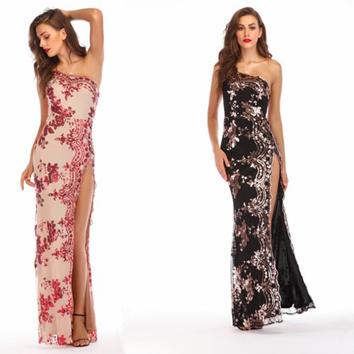 2018 Europe And America Hot Selling Sequin Slim Fit Sexy Backless Sloping Shoulder Formal Dress High Slit Long Dress Currently A