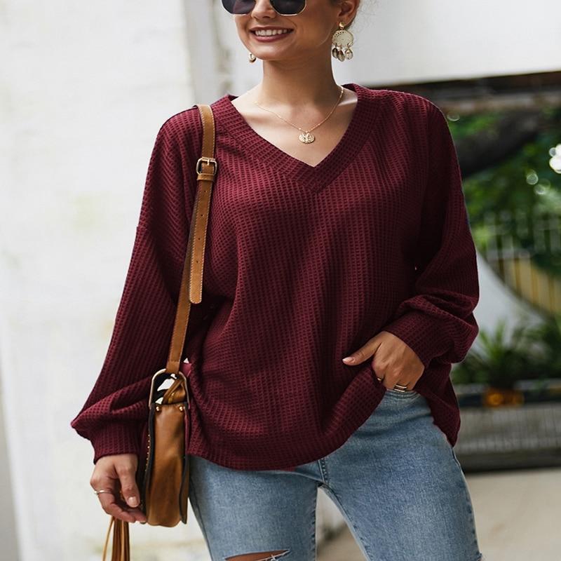 Plus Size Sweater Autumn And Winter 4XL 5XL 6XL 7XL 8XL Bust 138CM Fashion Long Sleeve Sexy V-neck Lantern Sleeve Thin Sweater