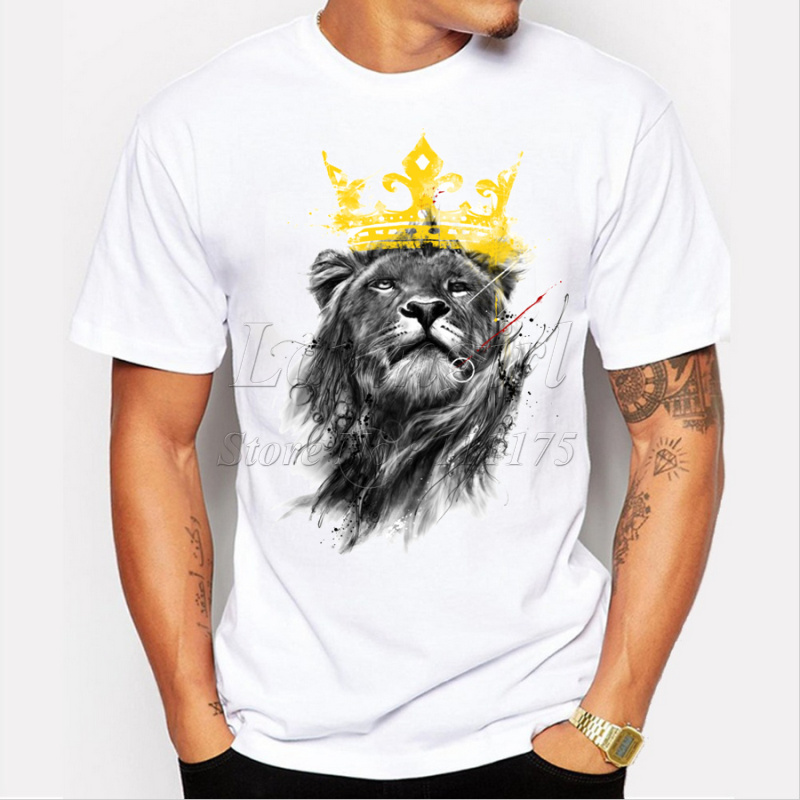 Men's Lastest 2019 Fashion Short Sleeve King Of Lion Printed T-shirt Funny Tee Shirts Hipster O-neck Cool Tops