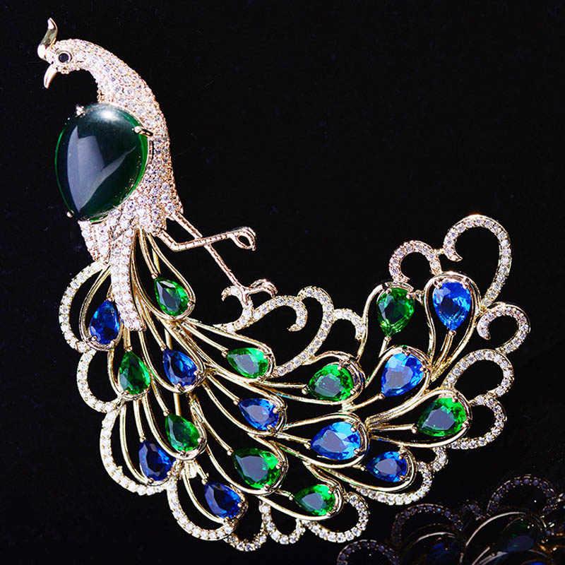 Zlxgirl gioielli da sposa blu e verde cubic zirconia rame spille Classico Decorazione di Cerimonia Nuziale Animale Corpetto Spilli