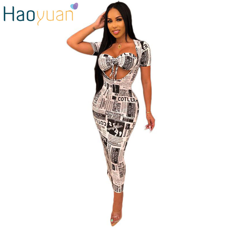 HAOYUAN Sexy Newspaper Print Two Piece Set Strapless Crop Tops And Short Sleeve Maxi Dress Clubwear Party Night Matching Sets