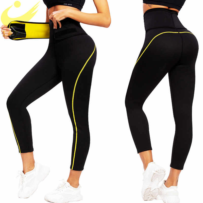 Lazawg Vrouwen Neopreen Sauna Afslanken Broek Gym Workout Hot Thermo Zweet Sauna Capri Leggings Shapers Taille Trainer Broek