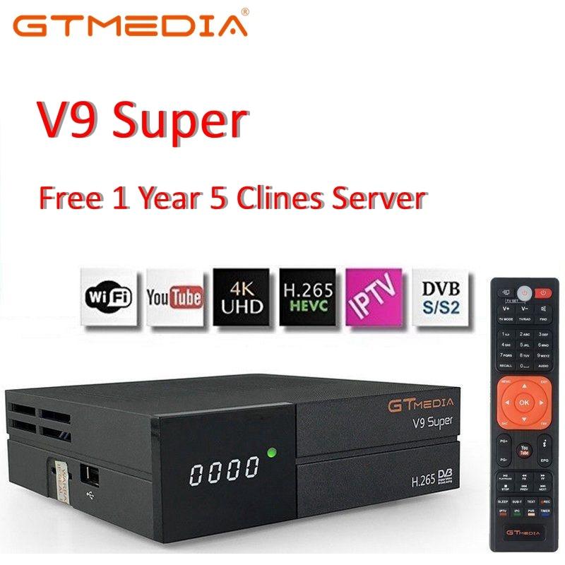 Bult GTMedia V9 Super Receptor de Satélite-em WiFi com 1 Ano Espanha Europa Cccam Cline Full HD DVB-S2/ S Receptor Freesat V8 NOVA