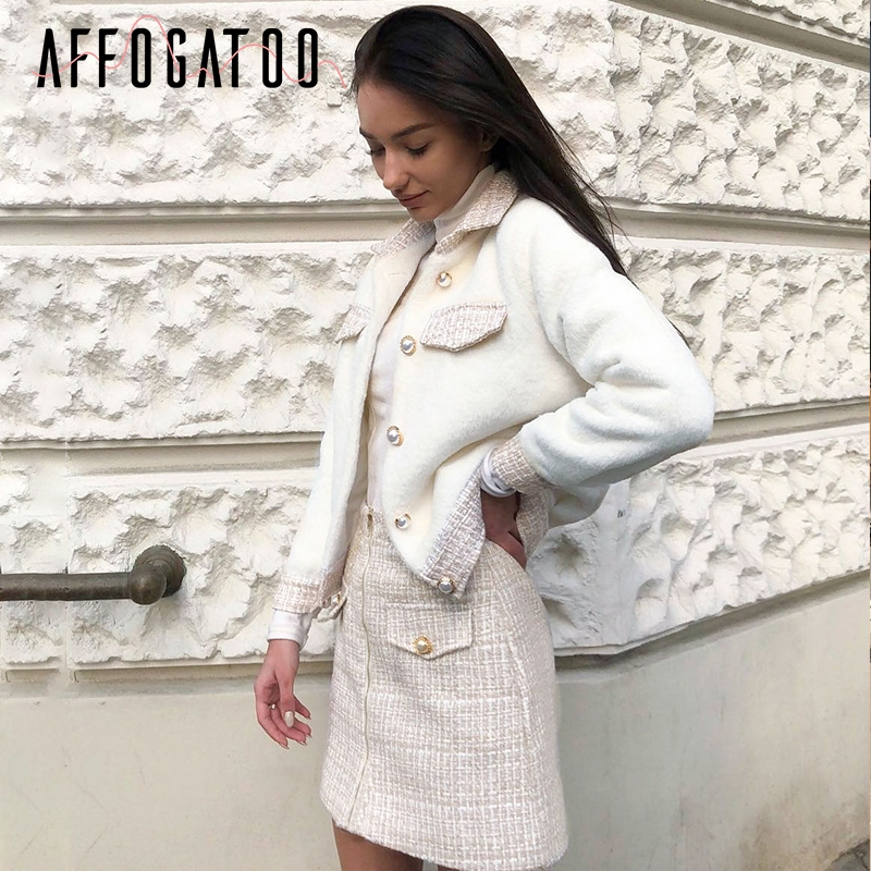 Affogatoo Casual Tweed Faux Fur Coat Skirt Two-piece Suit Sets Women Elegant Office Ladies Autumn Winter Vintage Skirt Sets Suit