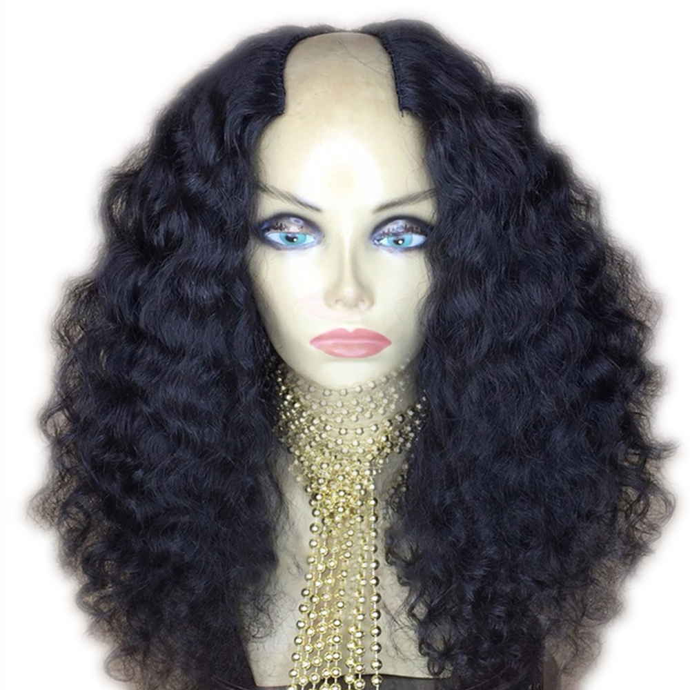 Eversilky 2x4 Middle Open U Part Wig Curly Human Hair Wigs For Women U Wigs 130%-250% Density Peruvian Remy Hair Natural Color