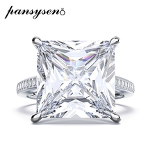 PANSYSEN Luxury 100% 925 Sterling Silver Created Moissanite Wedding Engagement Rings for Women Men Wholesale Couple Ring