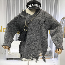 Hole Designer Women Sweater 2019 High Quality V-Neck Street Solid Loose Knitted Sweaters for and Pullovers