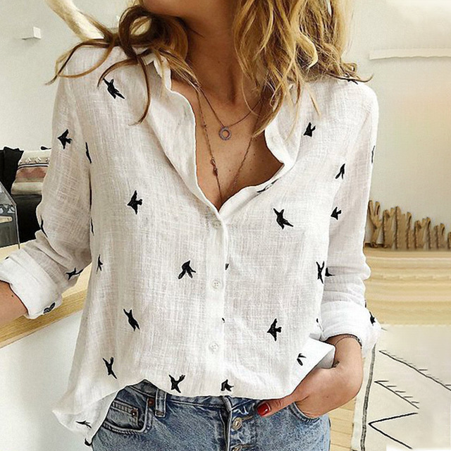 Women's Birds Print Shirts Blouses Spring Cotton Linen Plus Size 5XL Female Shirt Long Sleeve 2020 Summer Casual Ladies Blouse