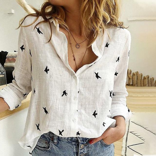 Women's Birds Print Shirts Blouses Spring Cotton Linen Plus Size 5XL Female Shirt Long Sleeve 2020 Summer Casual Ladies Blouse