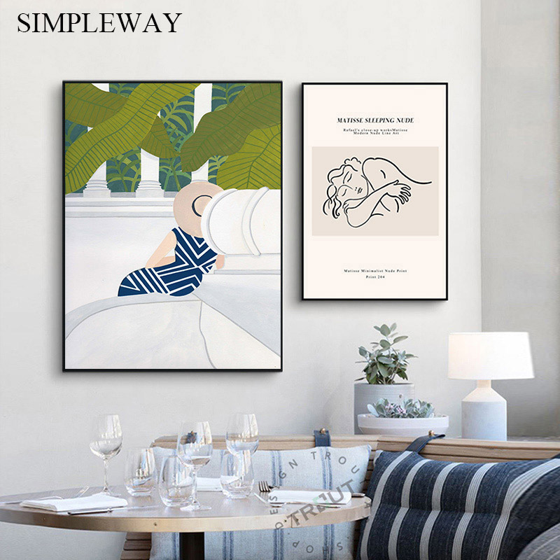 Matisse Art Abstract Painting Line Drawing Woman Simple Canvas Wall Poster Nordic Print Decorative Picture Modern Home Decor