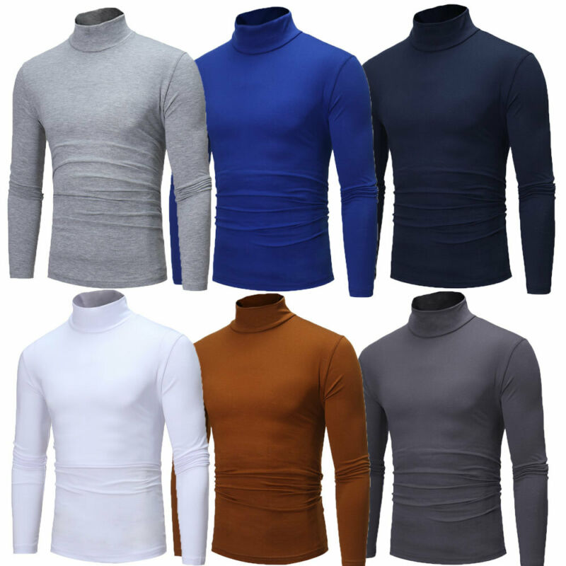 New Fashion Mens Cotton Sweaters Stretch Shirt Tops Plus Size Turtle Neck Skivvy Shirt Tops Men Casual Winter Clothing Sweaters