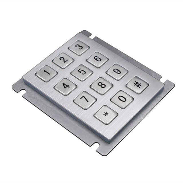 12 Keys 3x4 Matrix USB Kiosk Keypads Metal Stainless Steel Numeric Keypad For Access Control 2