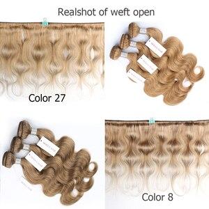 Image 4 - Mogul Haar Kleur 8 Ash Blonde Kleur 27 Honing Blonde Indian Lichaam Wave Haar Weave Bundels 2/3/4 Bundels remy Human Hair Extension