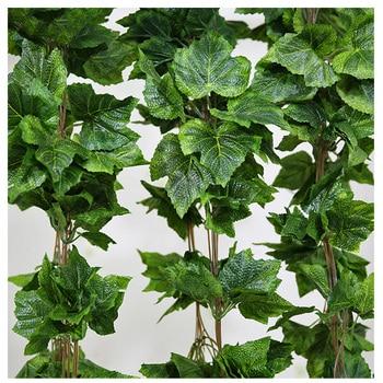Luyue Artificial Plants 12PCS Plant artificial Flower Silk Grape Leaf Hanging Garlands Faux Vine Wedding Decoration For Home