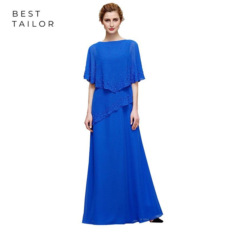 Blue Mother Of The Bride Dresses For Weddings 2019 Floor Length Capelet Sparkly Wedding Party Gowns Farsali Vestidos De Madrinha
