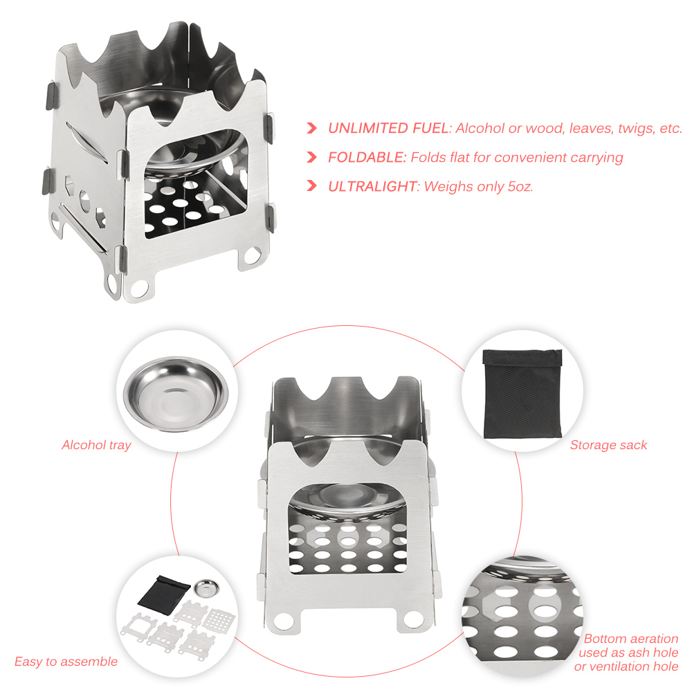 Lixada Outdoor Portable Wood Stove Stove Heating Stove with Stand Outdoor Portable Picnic Cooker Stove For