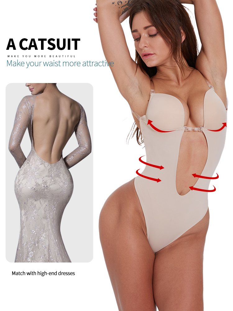 Image 2 - sexy lingerie Slim Fitted Skinny Summer shapewear women lingerie ass pulling Sexy Backless Beha Plunge Bras Thong OnzichtbareBodysuits   -