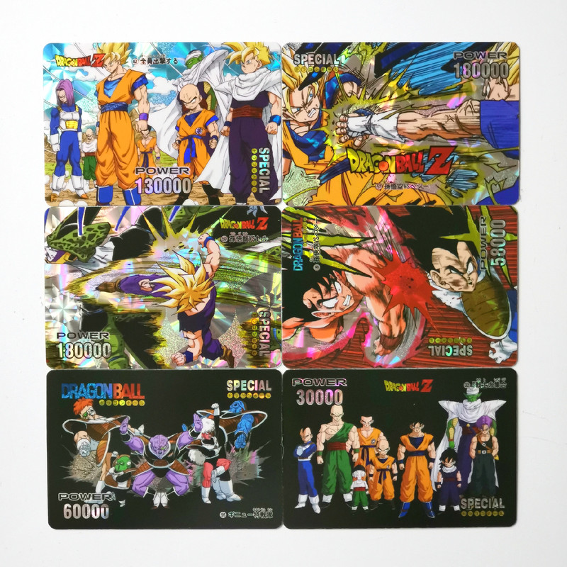 55pcs/set Dragon Ball Z Super Saiyan Goku Cartoon Game Action Toy Figures Commemorative Edition Collection Cards Free Shipping