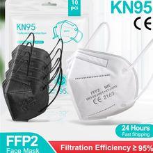 5-100 peças ffp2 ce máscara fpp2 aprovado kn95 mascarillas máscaras kn95 certificado ffp2mask respiratória preto boca tampas máscara 5 camadas