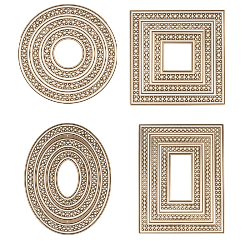 2019 New Basic Circle Oval Rectangle Square Frames Set Metal Cutting Dies For DIY Scrapbooking Paper Cards Making Crafts Supplie