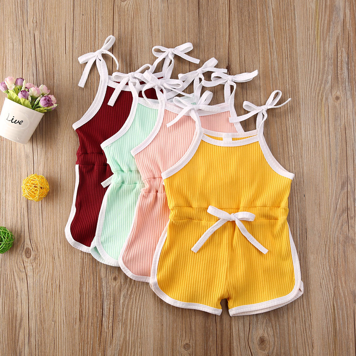 Summer Infant Baby Girls 12M-6T Rompers Overalls Solid Sleeveless Belt Jumpsuits Lovely Clothes 4 Colors