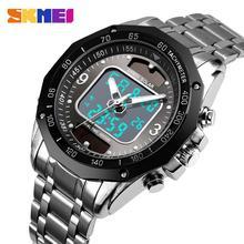 Fashion Luxury Brand Watch Men SKMEI Waterproof Stainless Steel Strap Dual Displ