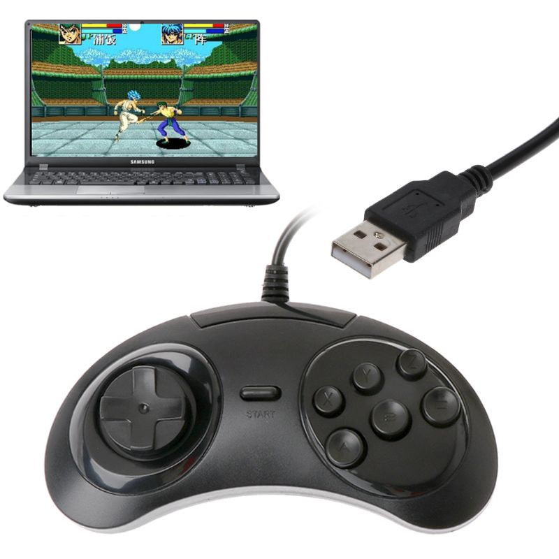 Wired USB Classic Gamepad 6 Buttons Game Controller Joypad Handle for SEGA MD2