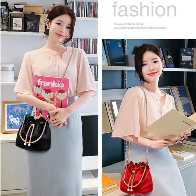 Luxury Velvet Large Capacity Bucket Bag 6