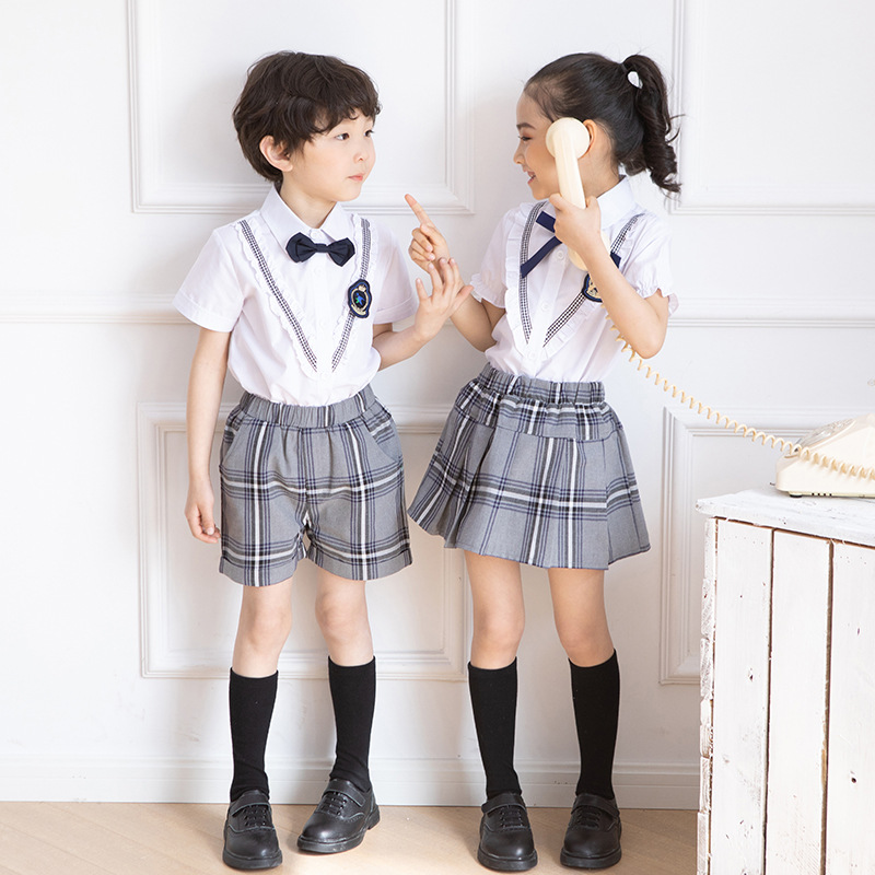 Kindergarten Suit Summer Wear Primary School STUDENT'S School Uniform Set Short Sleeve Children Sports Business Attire England S