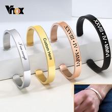 Vnox – Bracelet classique de base personnalisé pour hommes et femmes, en acier inoxydable brillant, manchette unie, nom personnalisé, cadeau d'anniversaire