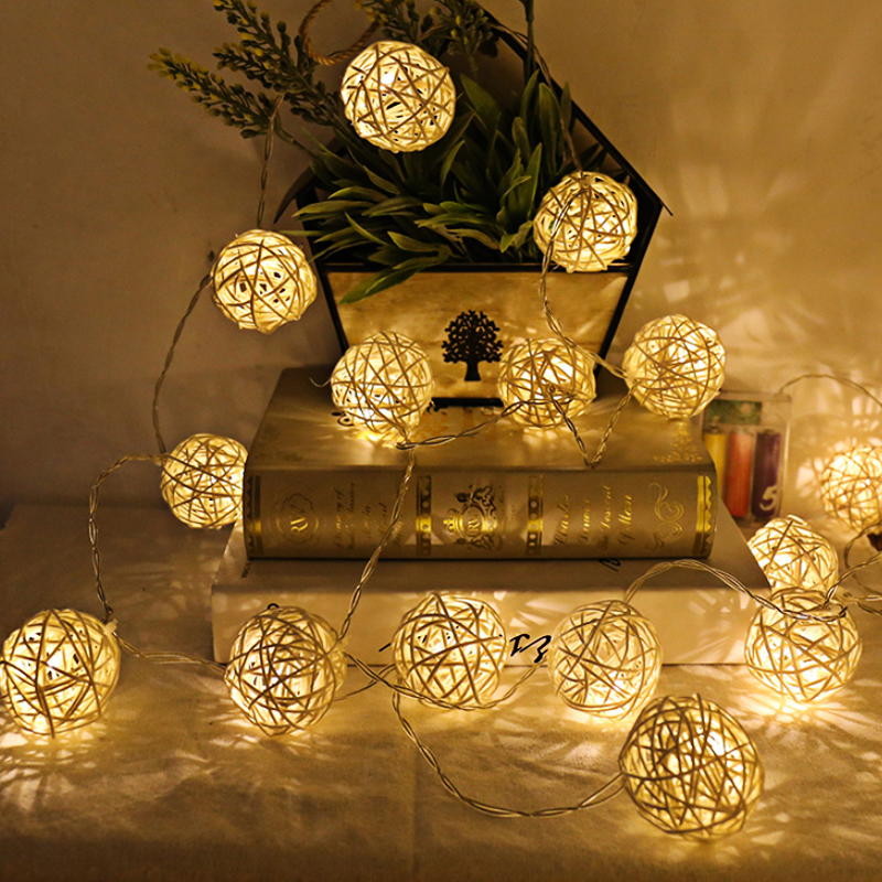 1M 2M Led Rattan Balls Fairy String Christmas Decorative Lamps Warm White Party Wedding Garlands Holiday Decoration LED String