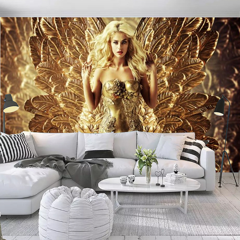 European Style 3D Mural Sexy Women Feather Background Wallpaper KTV Bar Nonwoven Fabric Seamless Hotel Wallpaper